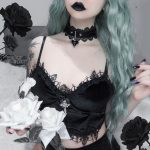 Aesthetic  Velvet Gothic Crop Top  with Lace and Cross pendant 3