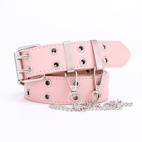 Fashion Belt Double/Single Row Holes and Chain 10