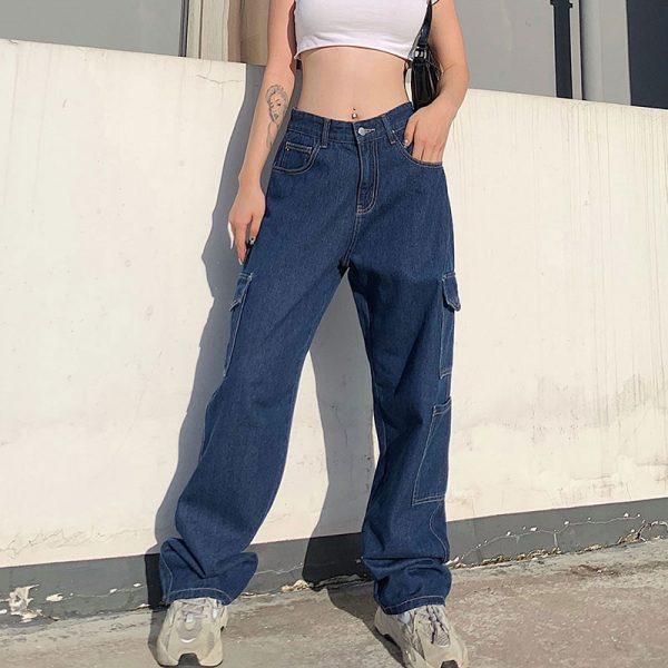 Fashion pocket hight waist Jeans 3