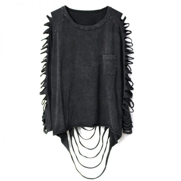 Punk Grunge loose t-shirt with pocket and holes on sleeves 3