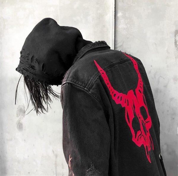 Demon Hunter Skull Black Denim Jacket 10
