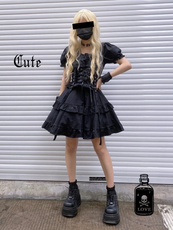 Dark Style Fluffy Dress with Bandage 5