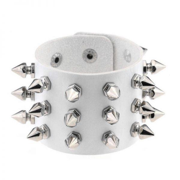 Gothic Punk Three Row Spikes Wristband 3