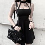 Gothic style Halter Black Mini Dress  2