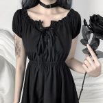 Gothic style Off Shoulder Black Dresses with High Waist 4