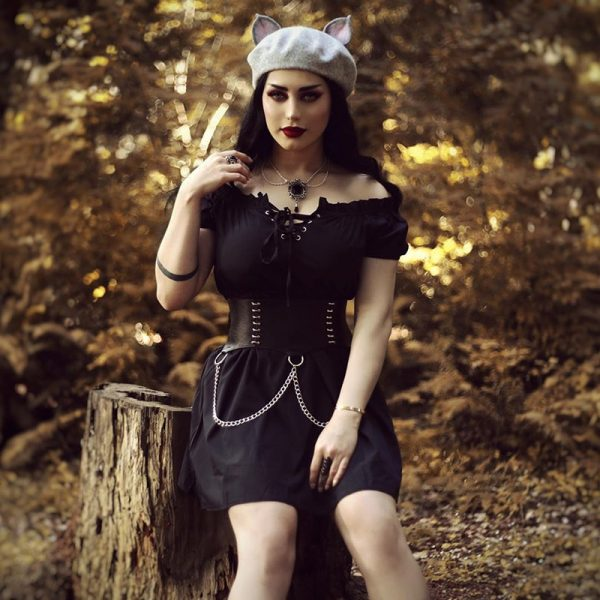 Gothic style Off Shoulder Black Dresses with High Waist 9