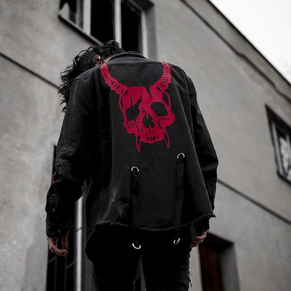 Demon Hunter Skull Black Denim Jacket 9