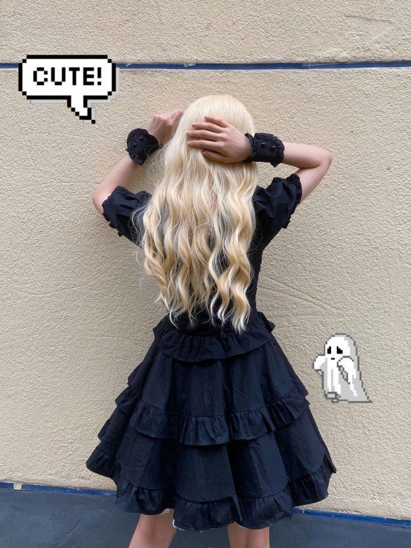 Dark Style Fluffy Dress with Bandage 6