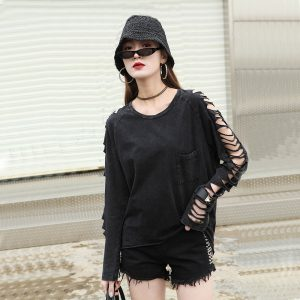 Punk Grunge loose t-shirt with pocket and holes on sleeves 1