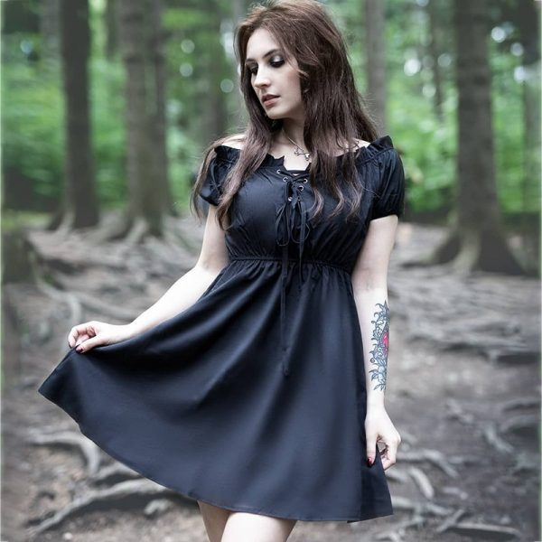Gothic style Off Shoulder Black Dresses with High Waist 10