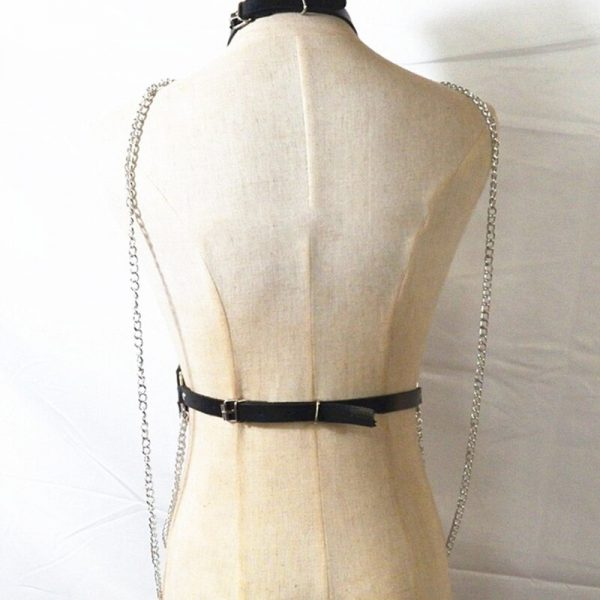Gothic Aesthetic Leather Belt with Chains Harness 5