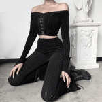 E-girl Goth Aesthetic, Grunge style black pants  4