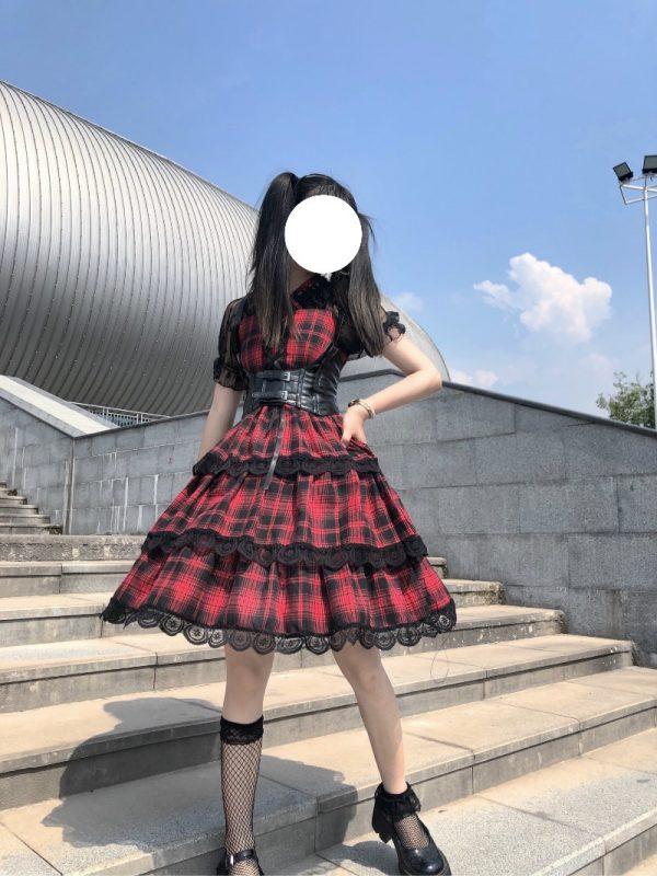 Plaid Japanese Harajuku Dress with leather bandage 14