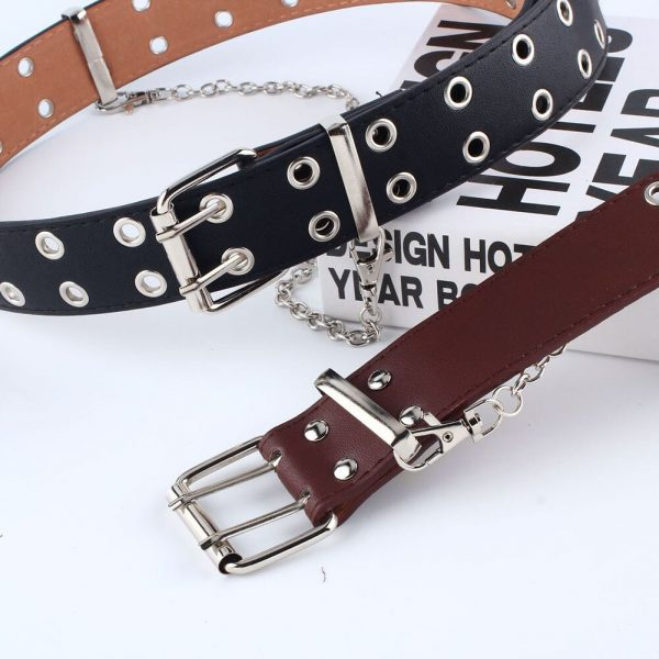 Fashion Belt Double/Single Row Holes and Chain 25