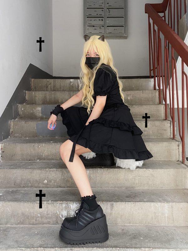 Dark Style Fluffy Dress with Bandage 1