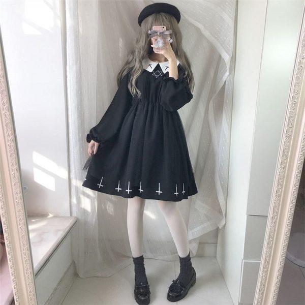 Harajuku Gothic Lolita Dress with Cross 8