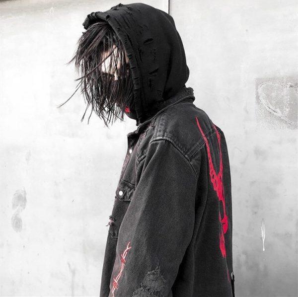 Demon Hunter Skull Black Denim Jacket 8