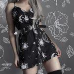 Gothic Mini Dress with Sun & Moon Print 7