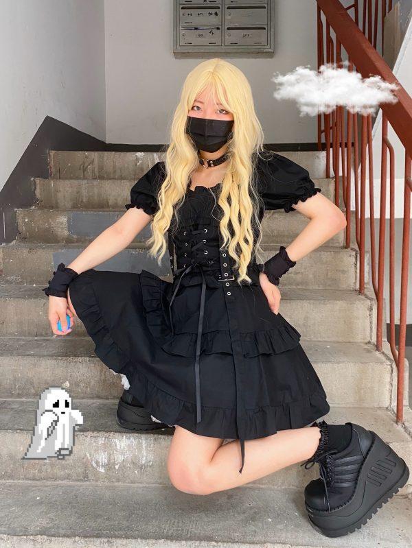 Dark Style Fluffy Dress with Bandage 3