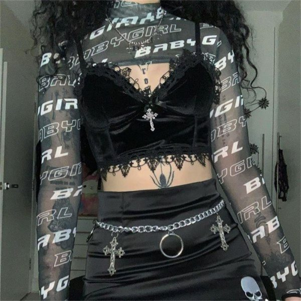 Aesthetic  Velvet Gothic Crop Top  with Lace and Cross pendant 14