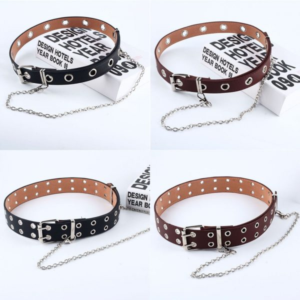 Fashion Belt Double/Single Row Holes and Chain 6