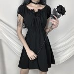 Gothic style Off Shoulder Black Dresses with High Waist 2