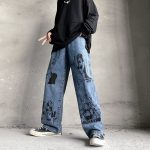 Blue Jeans in Harajuku style with Anime Print 5