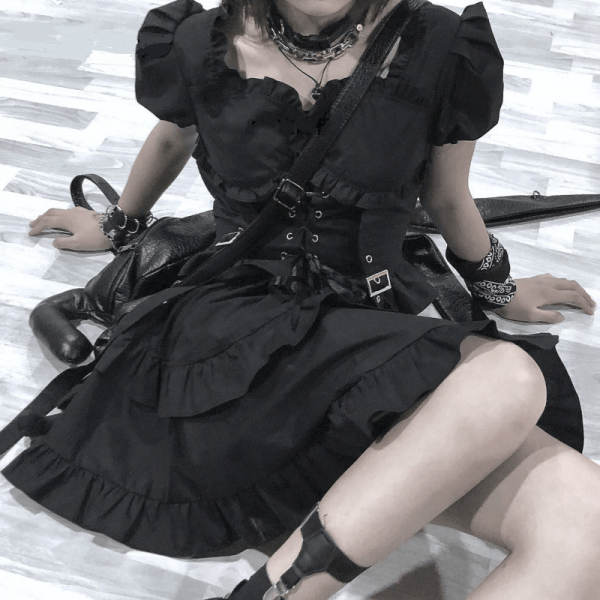 Gothic Women Dress with High Waist Ruched Ruffles and Straps