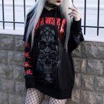 Gothic Skull Print Black Hoodie 1