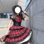 Plaid Japanese Harajuku Dress with leather bandage 13