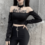 Crop Top With Chains Off Shoulder 17