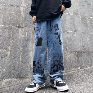 Blue Jeans in Harajuku style with Anime Print 1