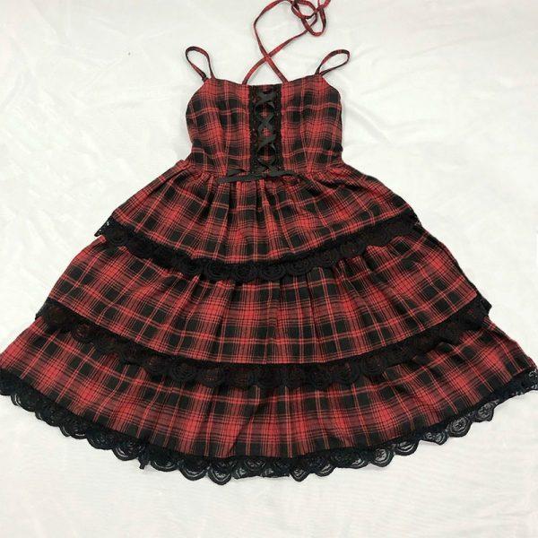 Plaid Japanese Harajuku Dress with leather bandage 16
