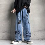 Blue Jeans in Harajuku style with Anime Print 4