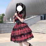 Plaid Japanese Harajuku Dress with leather bandage 10