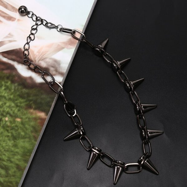 Material Choker Necklace with  Spikes 6