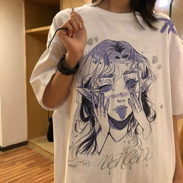 Anime Elf print T-shirt 1