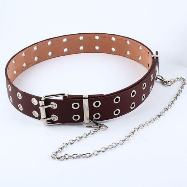 Fashion Belt Double/Single Row Holes and Chain 14