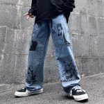 Blue Jeans in Harajuku style with Anime Print 2
