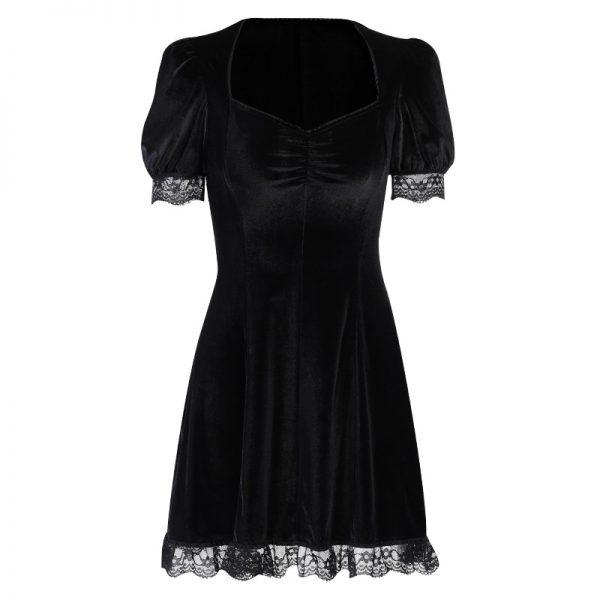 Aesthetic Vintage Lace Black Dress 4