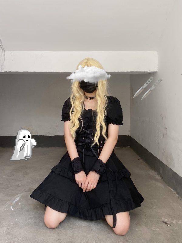 Dark Style Fluffy Dress with Bandage 2