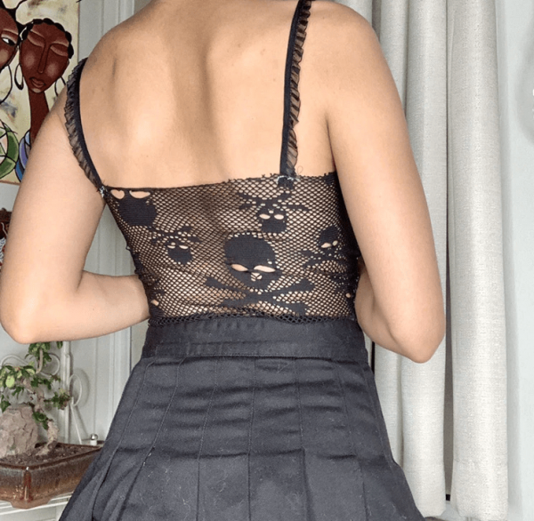 Black Camis with Gothic Skull Embroidery Mes 3