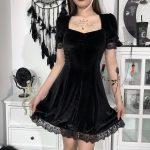 Aesthetic Vintage Lace Black Dress 2