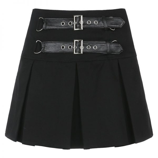 Pleated Gothic Mini Skirt with High Waist and Belts  4