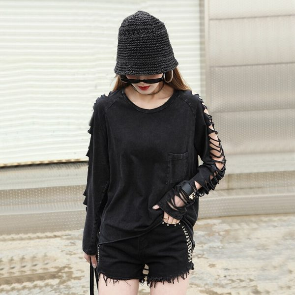 Punk Grunge loose t-shirt with pocket and holes on sleeves 6