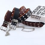 Fashion Belt Double/Single Row Holes and Chain 4