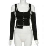 Gothic & Punk Style Crop Top Hollow Out Sleeve 6