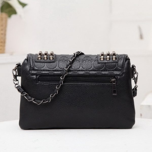 Gothic Punk Women Bag with  Rivets and Skull print  4