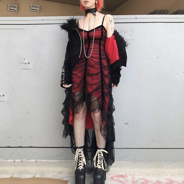 Mesh Pleated Gothic Punk Dress 4