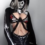 Skeleton Print Gothic Punk Hooded Crop Top with Mask 8